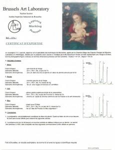 Certificat d'analyse - tableau