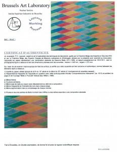 Certificat d'authenticité - peinture